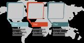 PowerPoint Vorlage: Bild+Content in abgerundeten Quadraten mit Weltkarte