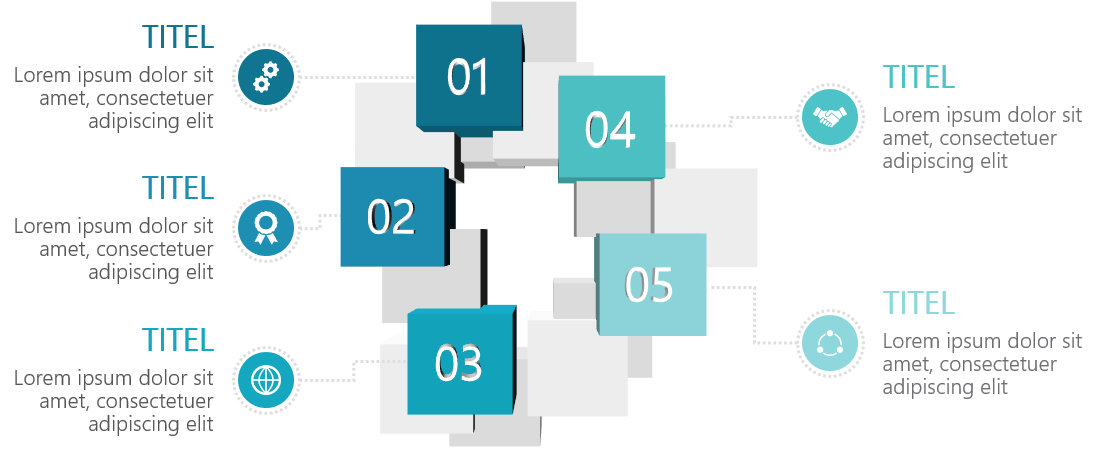 PowerPoint Vorlage: 3D-Quadrate