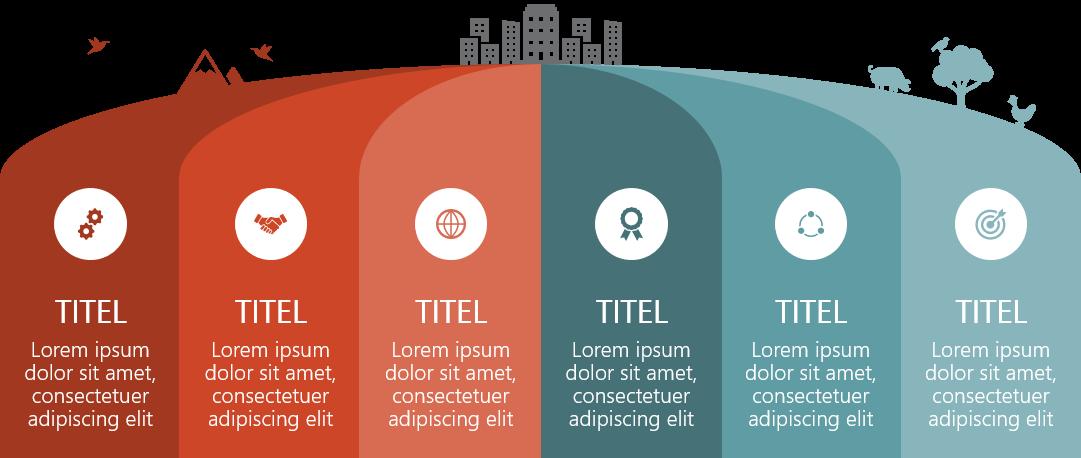 PowerPoint Vorlage: Roadmap im Hügel-Design
