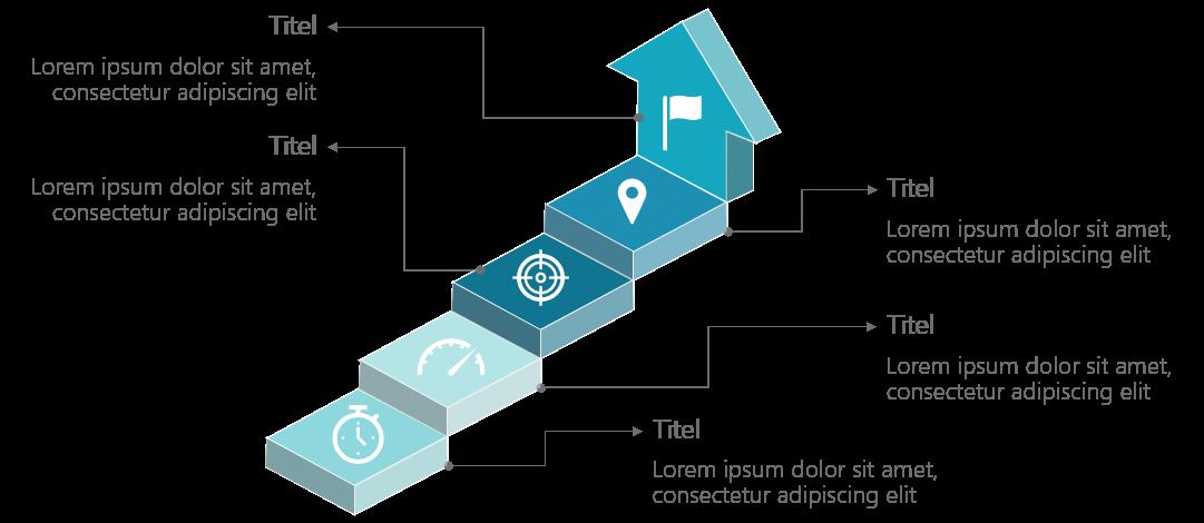 PowerPoint Vorlage: Ziele auf Stufen mit Piktogramm
