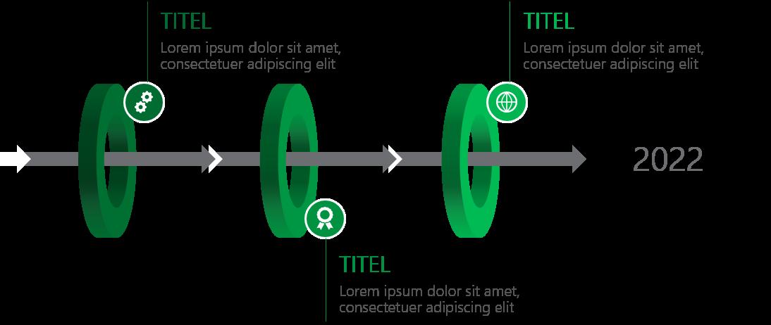 PowerPoint Vorlage: 3D-Ringe mit Pfeilen