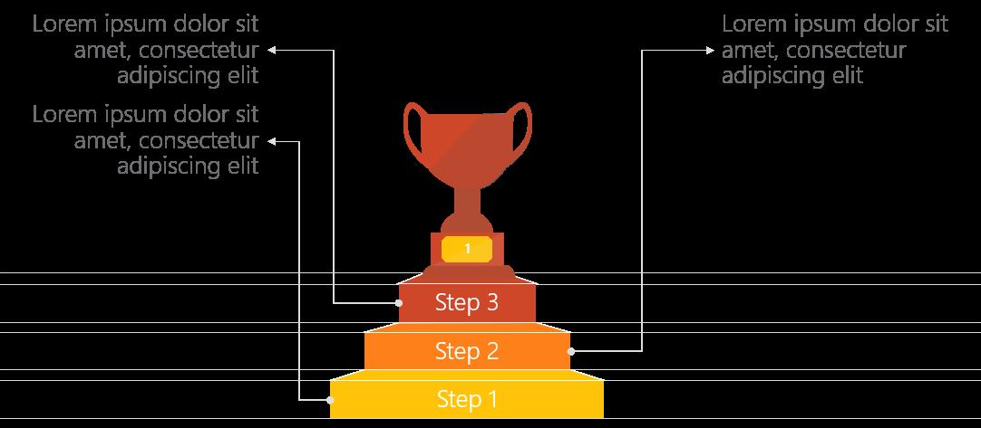 PowerPoint Vorlage: Ziele mit Treppe und Pokal