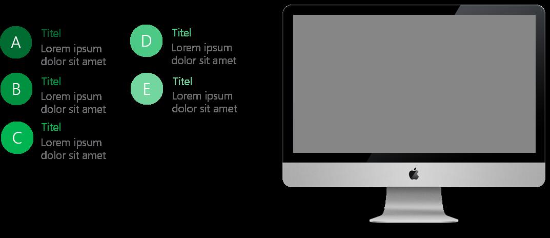 PowerPoint Vorlage: Auflistung mit Mac Rechts