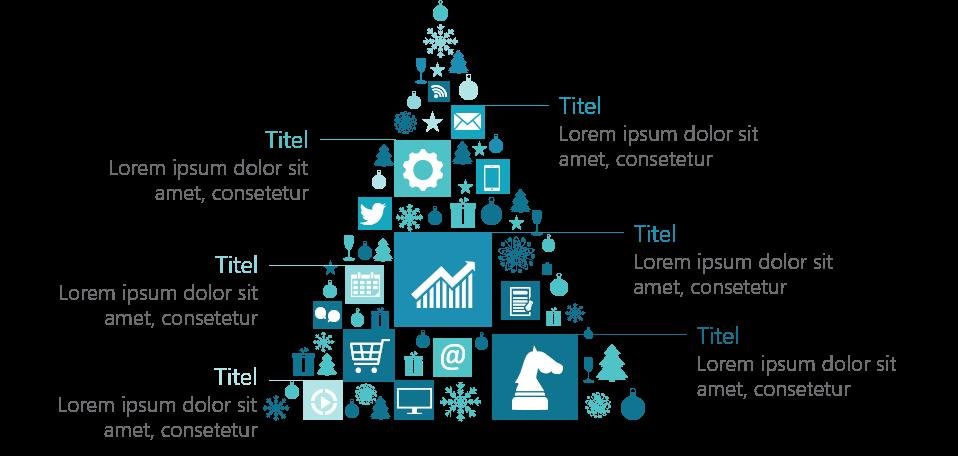 PowerPoint Vorlage: Weihnachtsbaum aus Icons