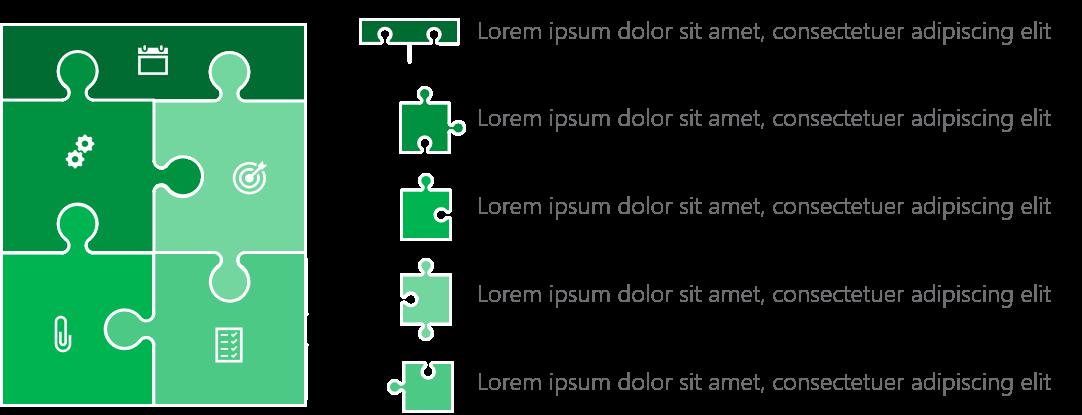 PowerPoint Vorlage: Puzzle-Auflistung