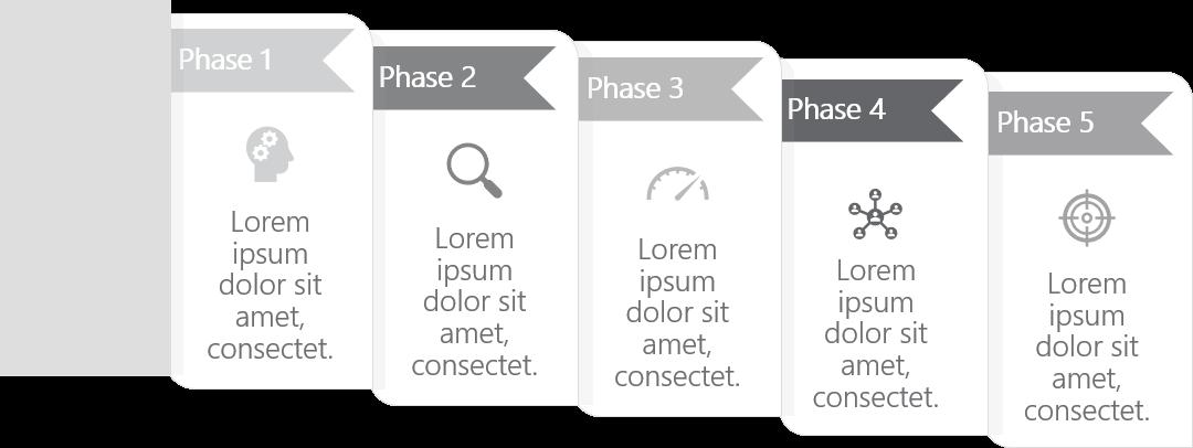 PowerPoint Vorlage: Prozess im gestapelten Register-Look