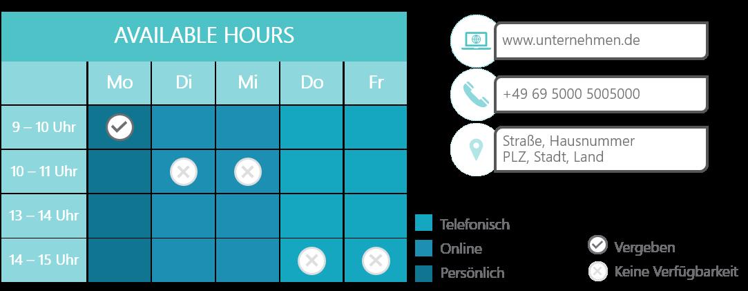 PowerPoint Vorlage: Termine vereinbaren in einer Matrix