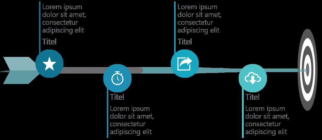 PowerPoint Vorlage: Ziele auf einem Dartpfeil