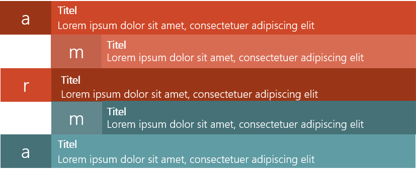 PowerPoint Vorlage: Services mit Balken und Buchstaben