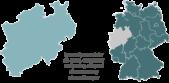 PowerPoint Vorlage: Deutschlandkarte mit hervorgehobenen Bundesländern