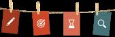 PowerPoint Vorlage: Auflistung mit Piktogrammen und Wäscheklammer