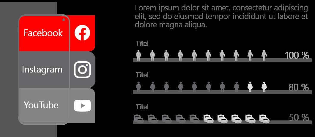 PowerPoint Vorlage: Social-Media-Kanäle im Smartphone