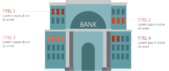 PowerPoint Vorlage: Auflistung mit Bankgebäude