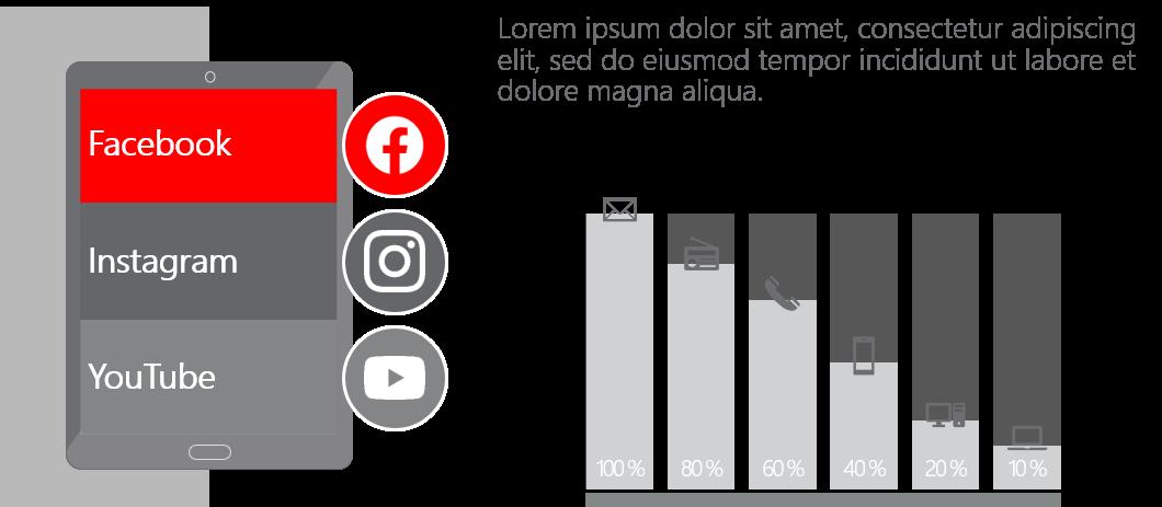 PowerPoint Vorlage: Social-Media-Kanäle im Tablet