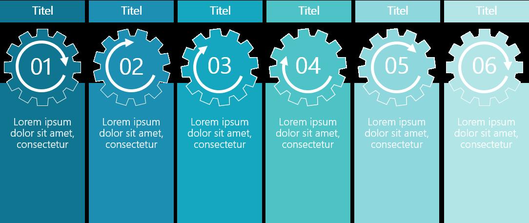 PowerPoint Vorlage: Prozess mit Zahnrädern und Kästen