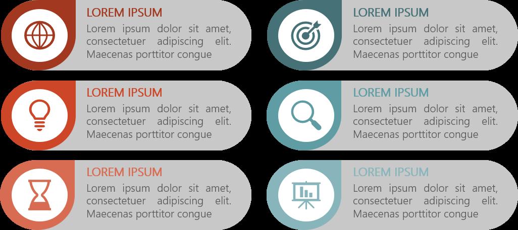 PowerPoint Vorlage: Auflistung mit abgerundeten Formen