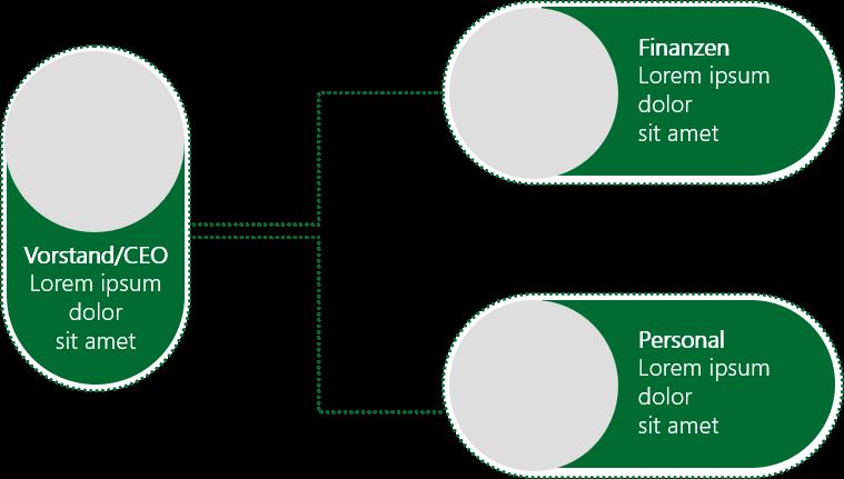 PowerPoint Vorlage: Organigramm mit gepunkteten Linien