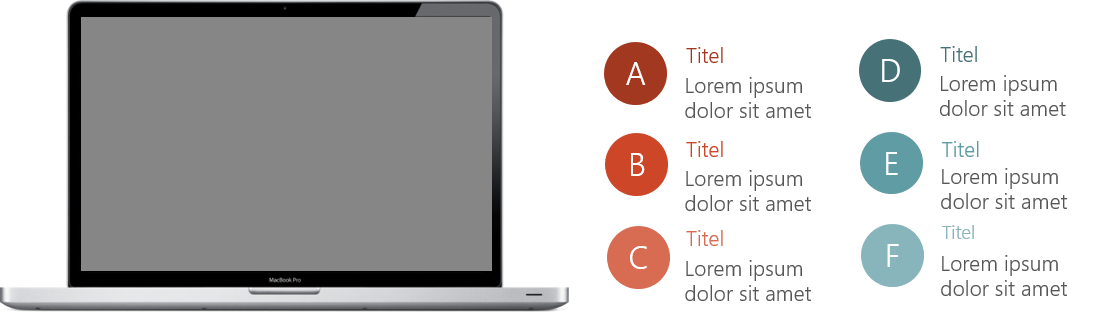 PowerPoint Vorlage: Auflistung an der Seite eines Laptops
