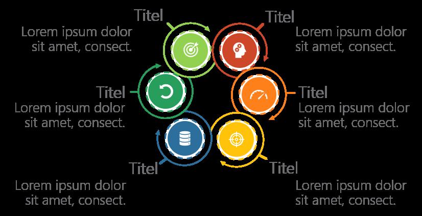 PowerPoint Vorlage: Workflow mit ineinandergreifenden radialen Pfeilen