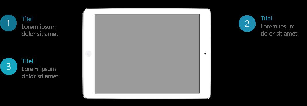 PowerPoint Vorlage: Auflistung mit Tablet