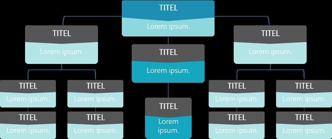 PowerPoint Vorlage: Organigramm mit bunten Kästen