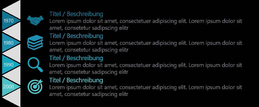 PowerPoint Vorlage: Vertikale Timeline mit Dreiecken