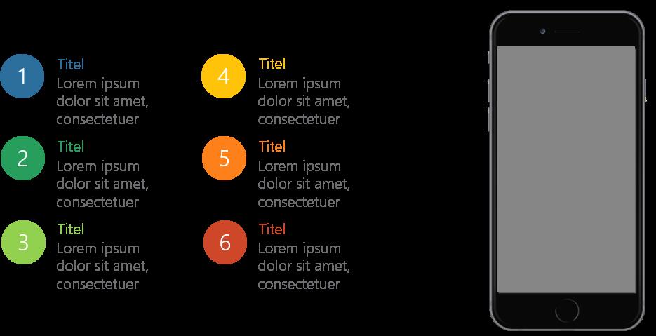PowerPoint Vorlage: Aufzählungspunkte mit Smartphone