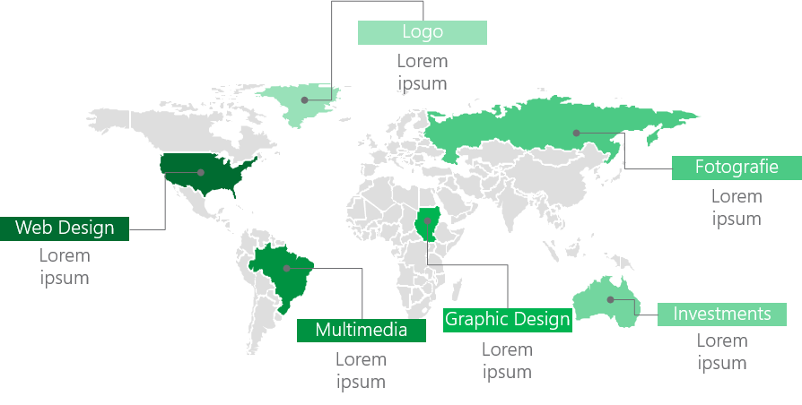 PowerPoint Vorlage: Hervorgehobene Standorte auf Weltkarte