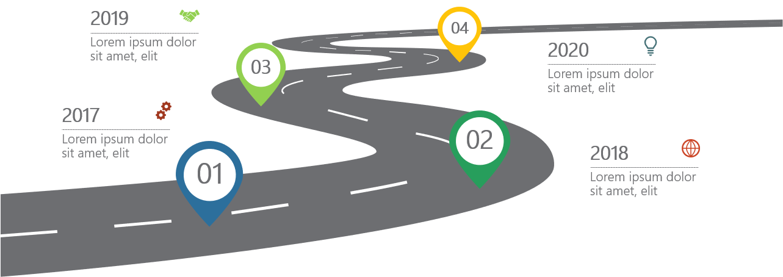PowerPoint Vorlage: Zeitstraße mit Markern