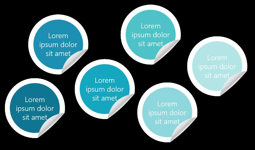 PowerPoint Vorlage: Kernaussagen mit Aufklebern