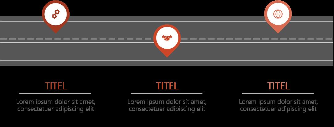PowerPoint Vorlage: Roadmap mit horizontaler Straße
