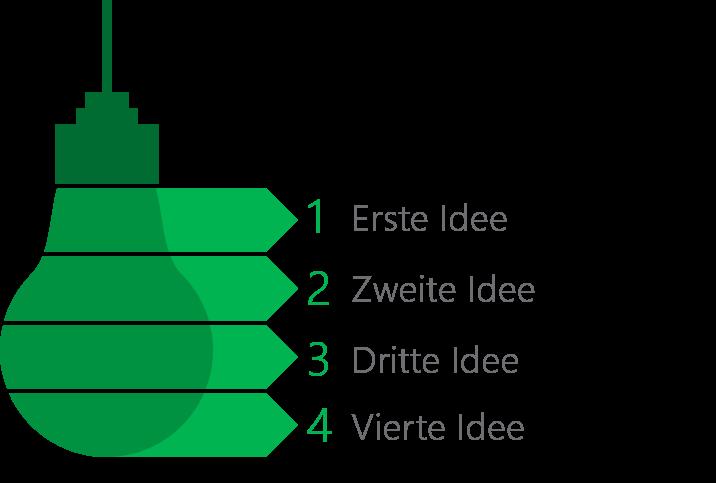 PowerPoint Vorlage: Aufzählung Ideen mit Glühlampe