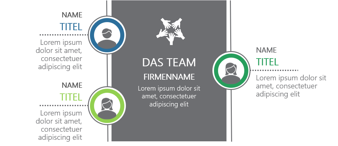 PowerPoint Vorlage: Teamvorstellung mit zentralem Kasten