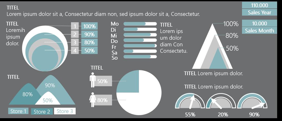 PowerPoint Vorlage: Statistiken mit prozentualen Grafiken