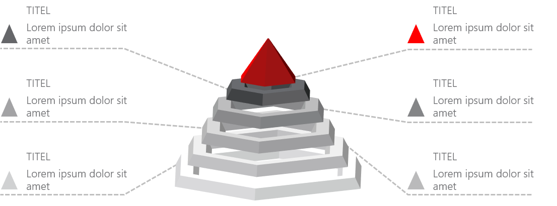PowerPoint Vorlage: Auflistung mit 3D-Pyramide