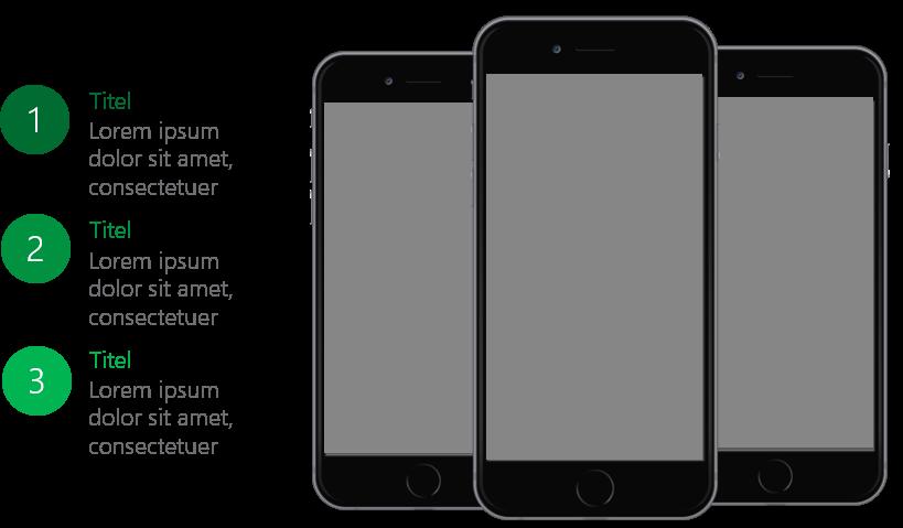 PowerPoint Vorlage: Aufzählung mit drei Smartphones in der Mitte