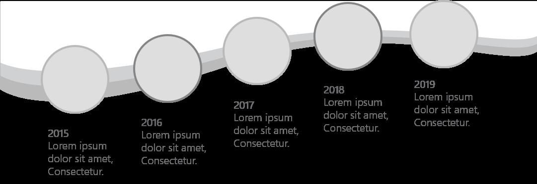 PowerPoint Vorlage: Bild & Content in Kreisen in welliger Anordnung