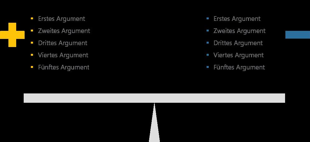 PowerPoint Vorlage: Pro und Contra mit Wippe