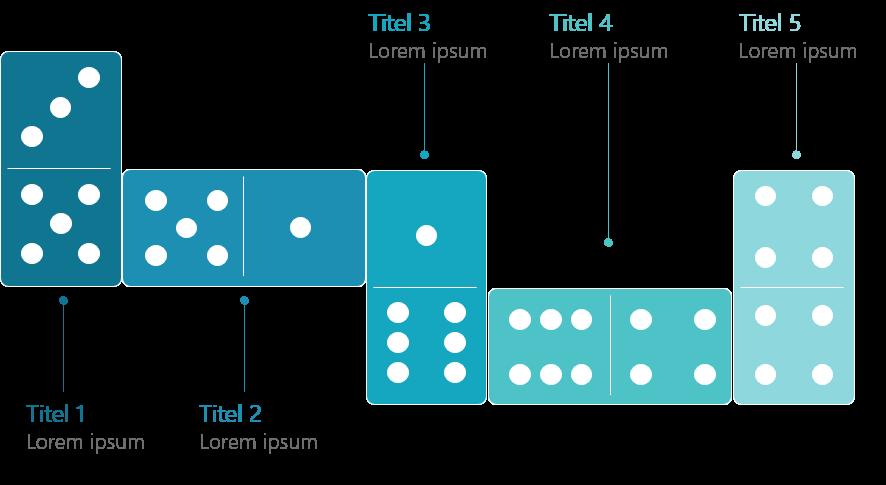 PowerPoint Vorlage: Abfolge mit Domino-Steinen