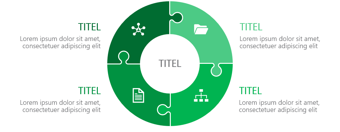 PowerPoint Vorlage: Puzzle als Ringdiagramm