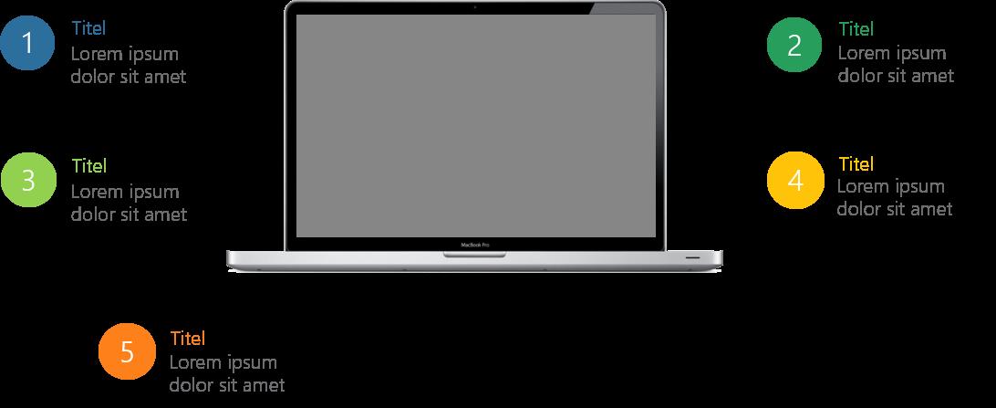 PowerPoint Vorlage: Auflistung mit Laptop in der Mitte