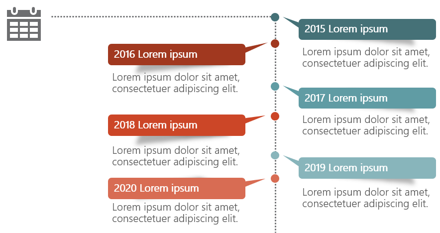 PowerPoint Vorlage: Zeitstrahl mit vertikaler Achse