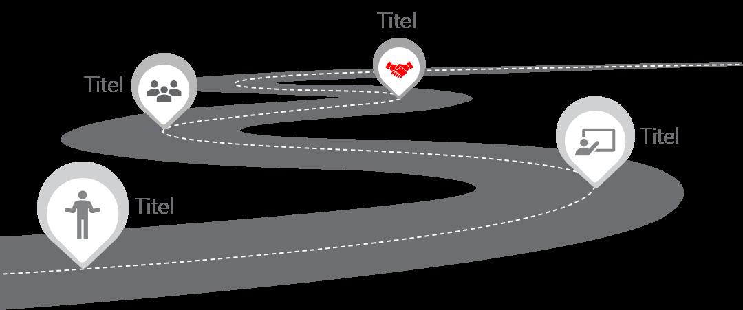 PowerPoint Vorlage: Roadmap mit Markern auf Straße