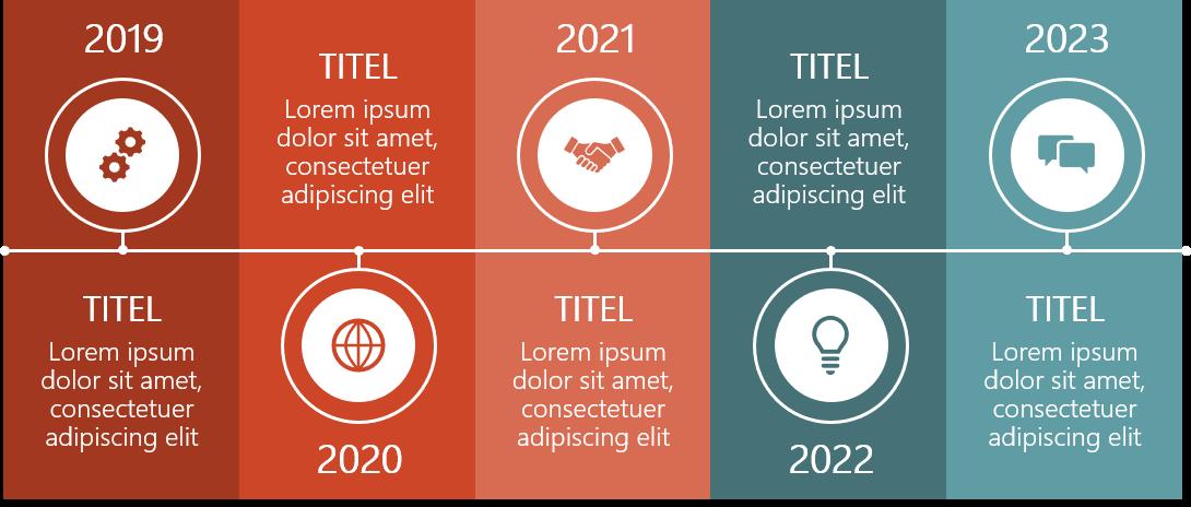PowerPoint Vorlage: Timeline mit Piktogramm-Markern