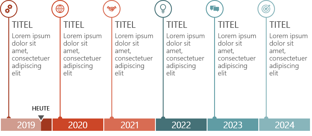 PowerPoint Vorlage: Horizontale Timeline mit Linien-Markern