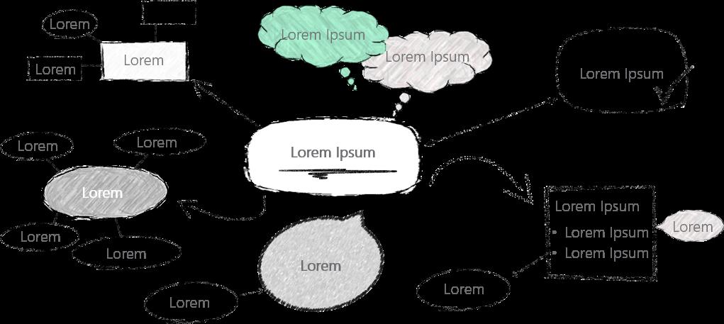 PowerPoint Vorlage: Skizzenhafte Mind-Map