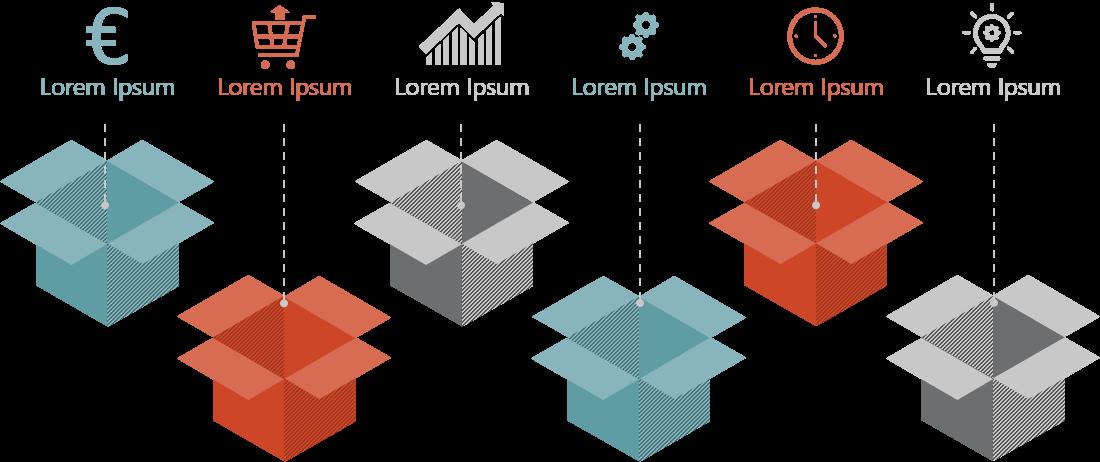 PowerPoint Vorlage: Produktvorstellung mit Kartons und Piktogrammen