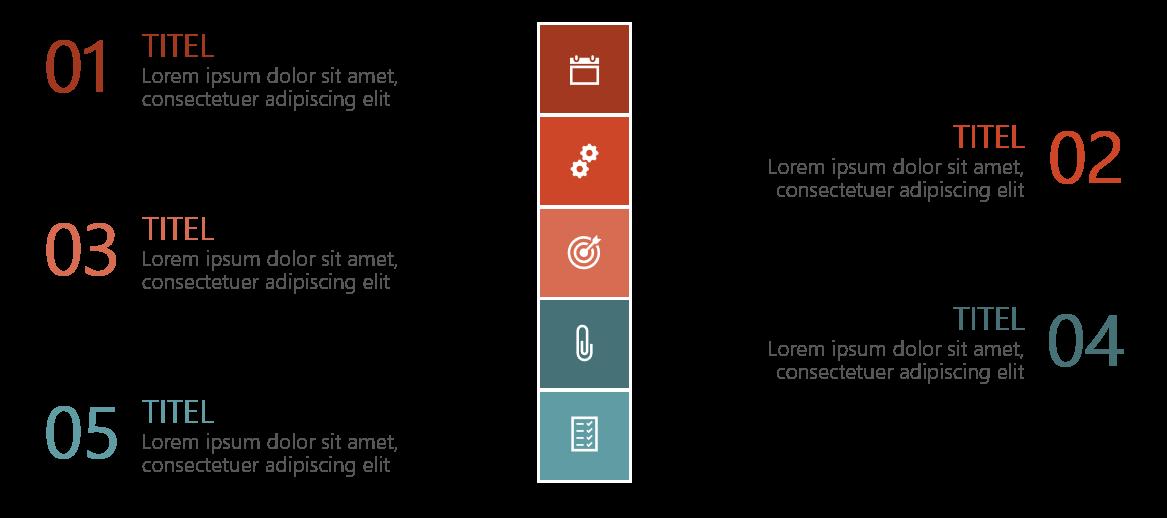 PowerPoint Vorlage: Vertikale Agenda mit Quadraten