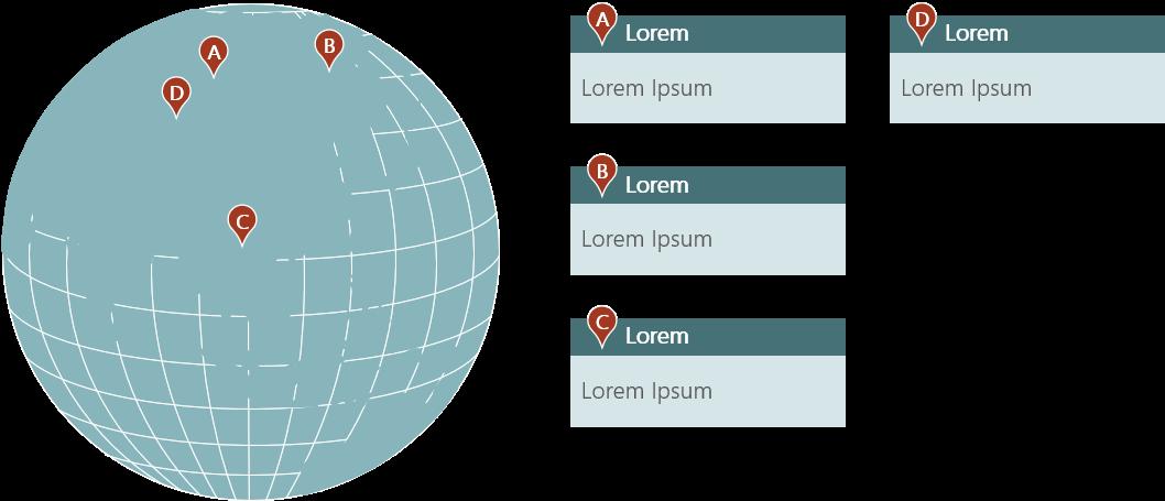PowerPoint Vorlage: Weltkarte - Standorte in Asien