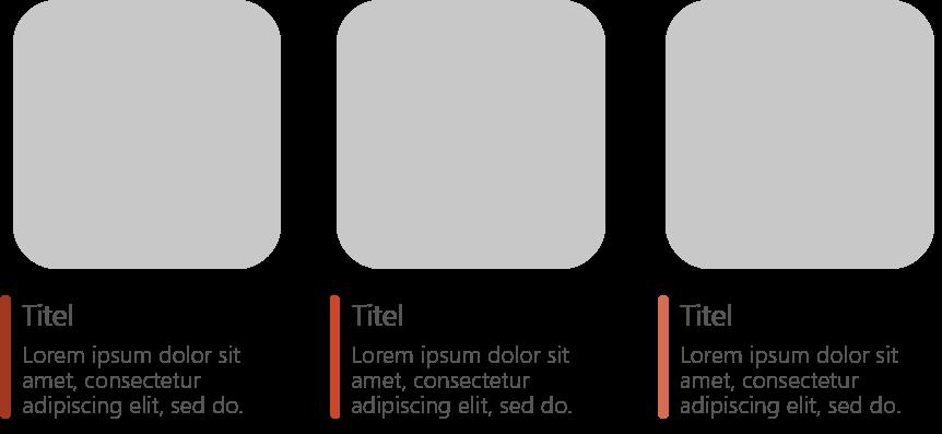 PowerPoint Vorlage: Bildlayout mit abgerundeten Quadraten